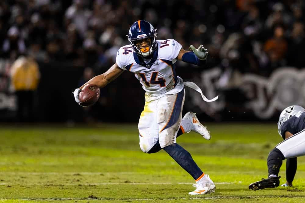 The best guide to building lineups for NFL Yahoo Cup Week 4, with top fantasy football values like D'Andre Swift, Courtland Sutton and more.
