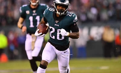 Week 6 No House Advantage Thursday Night FOotball Buccaneers vs. Eagles tonight free expert advice strategy rankings projections ownership MIle Sanders props over/under fantasy football DFS NFL