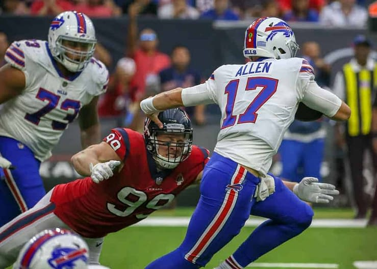 NFL DFS picks for DraftKings and FanDuel daily fantasy football lineups for Wild Card WEekend Saturday slate, Josh Engleman's Top 5 rankings based on simulations, expert ownership projections NFL odds betting picks prop bets Wild Card Saturday Josh Allen