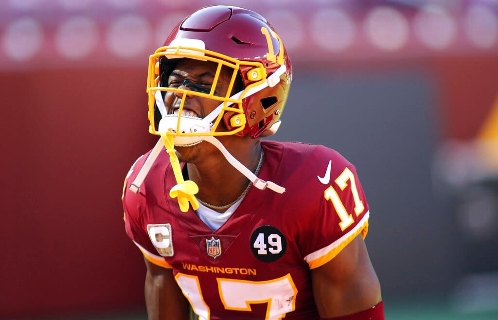 Week 6 Yahoo daily fantasy NFL rostership picks and pivots for Week 5 lineups with free projections for Lamar Jackson & Terry McLaurin.
