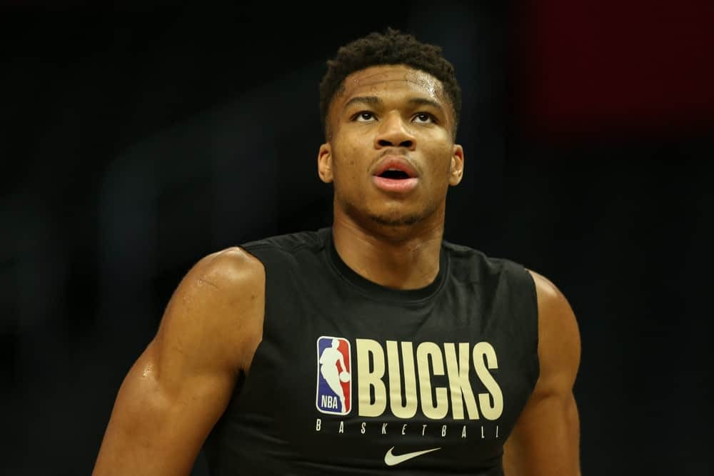 DraftKings & FanDuel NBA DFS Picks for daily fantasy basketball lineups on Thursday April 22 with Giannis Antetokounmpo based on Awesemo's expert projections, predictions, ownership and simulations