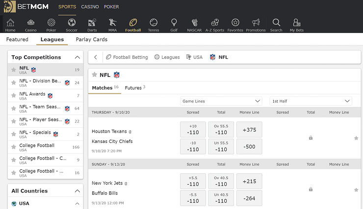 BetMGM Sportsbook BetMGM Sportsbook is a major player in the online betting landscape. Here's a sports betting review, and look at how to bet sports online.